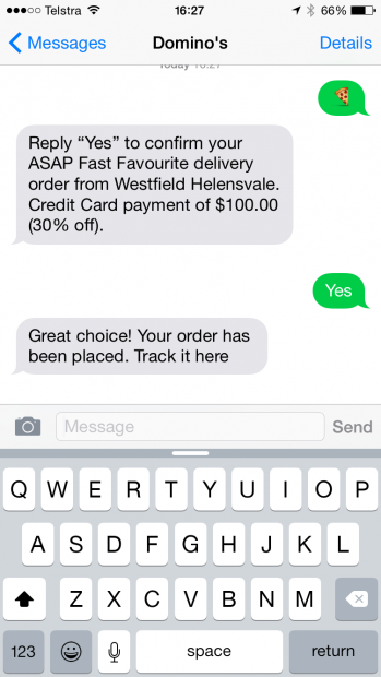 Dominos-text-to-orderiretail digital-transformation